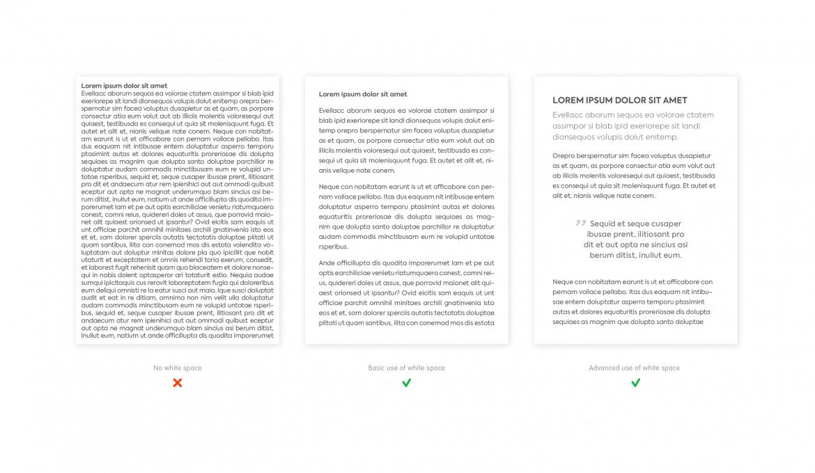 Examples of the use of white space to make a text wall more readable.