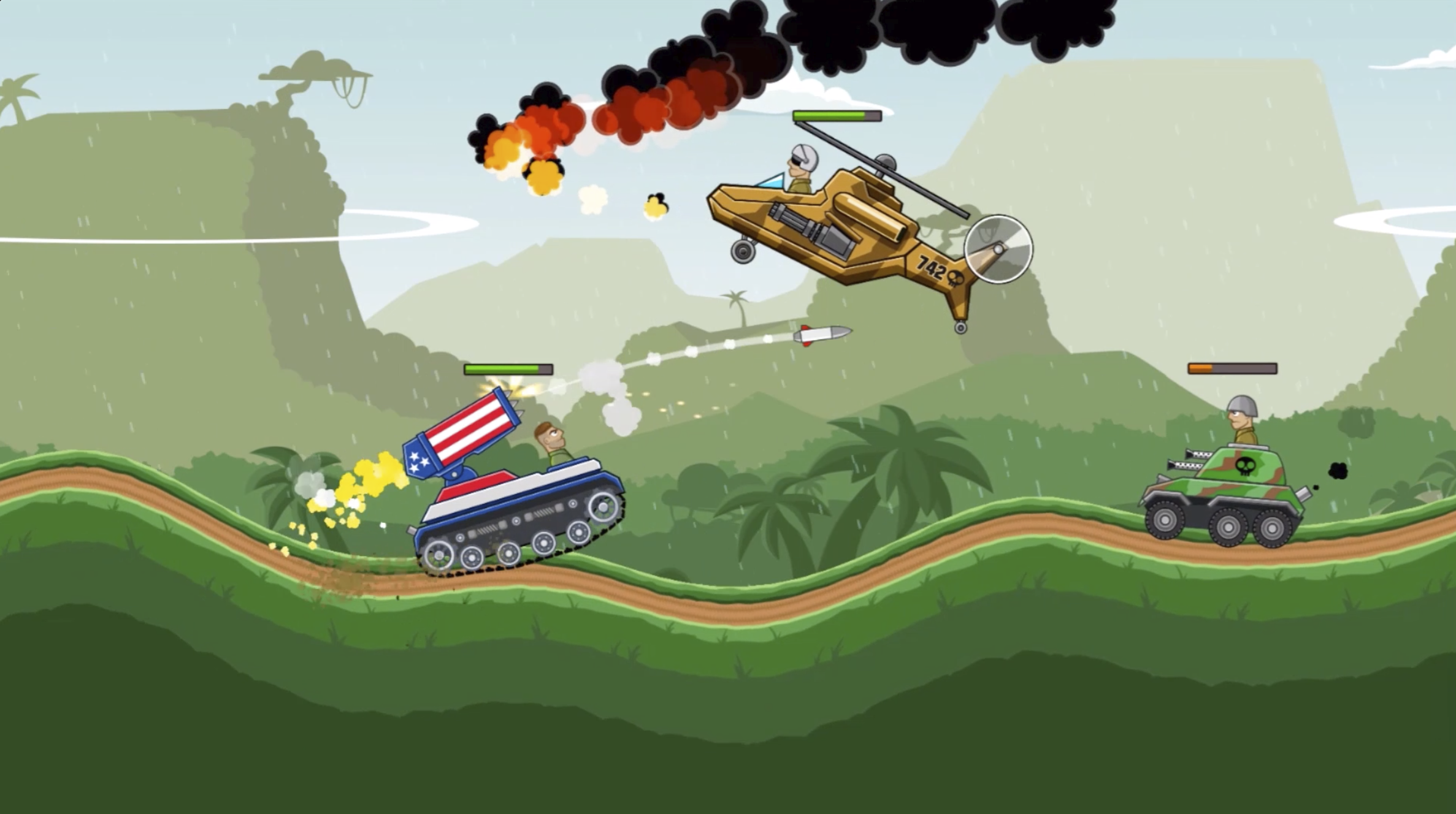 A screencapture of the Fingersofts game Hill Climb