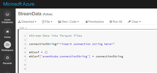 Event Hub connection string configuration